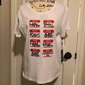 Karl Lagerfeld Nametag T Shirt L NWT